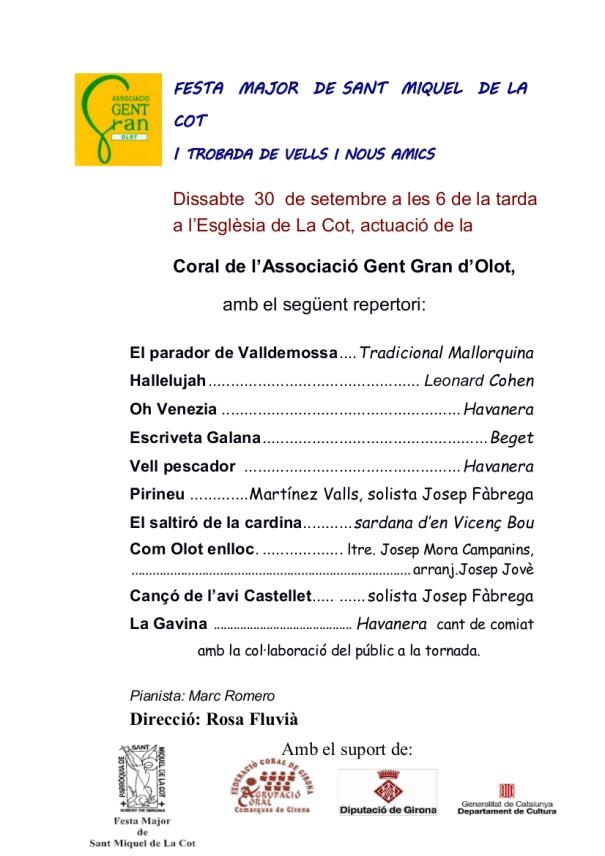 Programa Coral La Cot 30 setembre